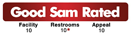 Good Sam Rated: Facility - 10 / Restrooms - 10* / Appeal - 10